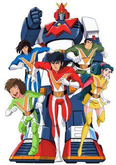 Chou Denji Machine Voltes V Big Robots, Cool Robots, Vintage Robots, Retro Robot, Japanese Robot, Japanese Cartoon, Arte Robot, Robot Art, Manga Anime One Piece