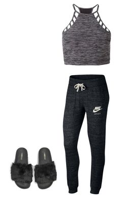 """""""Amber McCall; Getting Ready"""" by mrsmendes2 on Polyvore featuring Express, NIKE and The White Brand"""