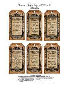 Halloween Witch Fortune Teller Tag Instant by chocolaterabbit