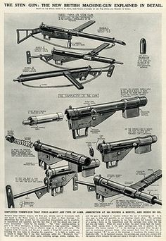 The Sten gun: the new British machine gun, introduced during the Second World War, explained in detail. It is a simplified Tommy-gun that fires almost any type of 9mm ammunition at 550 rounds per minute, and needs no oil. Pin by Paolo Marzioli