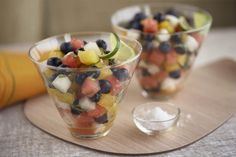 A variety of colors and textures make this simple blueberry fruit salad perfect for summer picnics. If yellow watermelon isn't available, us