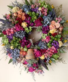 Elegant Dried Flower Wreath/ Spring Wreath/ by CloverHollowDesigns