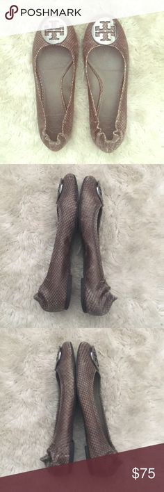 Tory Burch snakeskin flats Taupe gray flats with pewter logo. Worn but still in great condition! Size 38 but fit like 7 1/2. Open to reasonable offers! Tory Burch Shoes Flats & Loafers
