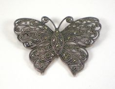Sterling Silver Butterfly Brooch Pin Vintage Marcasite Art Deco Style Filigree Figural Jewelry by paleorama on Etsy https://www.etsy.com/listing/169171931/sterling-silver-butterfly-brooch-pin