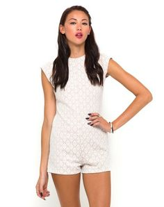 ef6fe380670e Motel Chickadee Cap Sleeve Playsuit in Nude Lace Motel