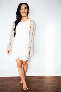 How darling is Allexis from Life of a Coy Fish in our eyelet dress and cozy sweater?