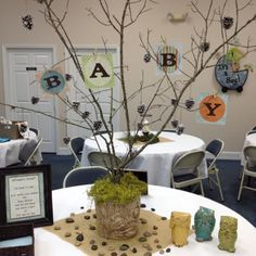Centerpiece for owl themed baby shower