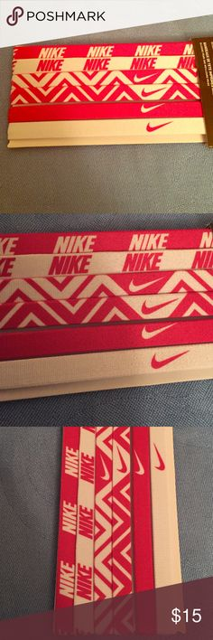 """Nike Printed Headbands Assorted 6 PK Authentic Nike Printed Headbands Assorted 6 PK. Unisex. All are Pink & White Print. Wear in Singles or Trendier in Multiples. Elasticized Backs. Each has a thin Silicone Strip for Grip. 1/2""""W. 17"""" Circumference. Brand New in their Original Packaging. Excellent Condition. No Trades. See My Other Nike listings. Nike Accessories Hair Accessories"""
