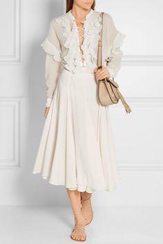 Chloé | Гофрированные шнуровке хлопка-марлевые блузка | NET-A-PORTER.COM