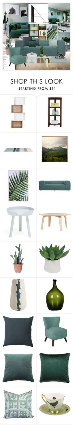 """Green Living Room"" by rainie-minnie on Polyvore featuring interior, interiors, interior design, home, home decor, interior decorating, Improvements, Wendover Art Group, Muuto and Dot & Bo"