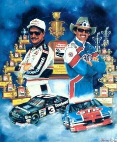 7 & 7 original artwork by Sam Bass. Dale Earnhardt and Richard Petty are both 7 time Winston Cup Champions