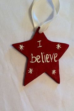 Star wooden Christmas ornament  hand made hand painted or use as a gift tag on Etsy, $4.00