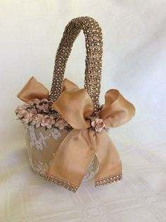 rose gold flower girl basket with lace  by TheCrystalFlower