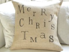 Merry Christmas burlap pillow