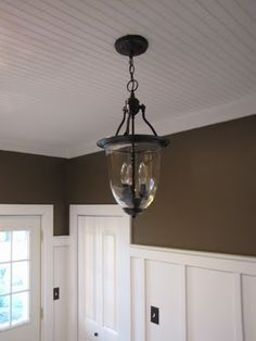 Love the beadboard ceiling & light fixture! Gonna have to do this in my laundry room.