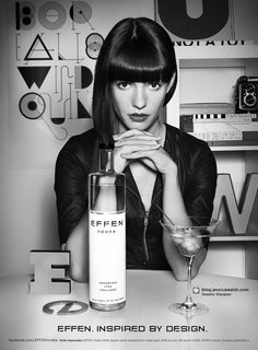 Jessica Walsh, Social advertisement...The name of the design is called 'Effen, Inspired By design.' The technique jesscia has used is a white and black contrast and mixed 3D Models of 'Effen' and placed it around her. I like this because she has made is so clean and also the way jessica has made her hair fall behind the vodka bottle makes it perfect! Portrait picture used.
