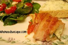 Bacon Wrapped Greek Style Chicken ~ Who Needs a Cape? #bacon #greek #chicken #feta