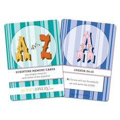 Our A to Z Scripture Memory Cards teach you and your children Scripture from the Bible. Each card has one letter of the alphabet (A-Z) with an easy-to-memorize NIV Scripture that corresponds to the letter. Make Scripture memory FUN! -- A PERFECT GIFT!