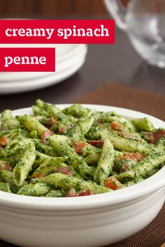 Creamy Spinach Penne – A vibrant sauce made with spinach and roasted peppers gets its creaminess from cottage cheese in this easy penne pasta dish for six. Plus, this recipe is ready in under 30 minutes.