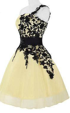 One shoulder Lace Sleeveless Yellow Black Short Knee Length Organza Short  Ball Gown Homecoming Dress