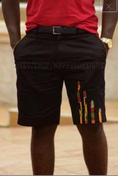 Kente & black men's fashion shorts African by NayaasDesigns African Shirts For Men, African Dresses Men, African Clothing For Men, African Print Fashion, African Attire, African Wear, Black Mens Fashion Shorts, Black Shorts, Moda Afro