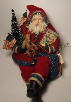 Handmade Sitting Patriotic Santa Claus By Kim Sweet~Kim's Klaus~Handmade Teddy Bear-flags & Book~Vintage Red Wool & Vintage Blue Bottle brush Tree