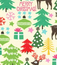 Holiday Inspirations Christmas Fabric Reindeer Forest Flannel