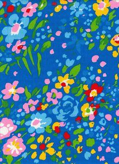 Tessuto floreale blu vintage 1 Yard di vickifab su Etsy
