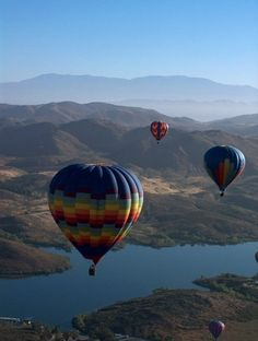 Balloons over Lake Skinner. Temecula California.