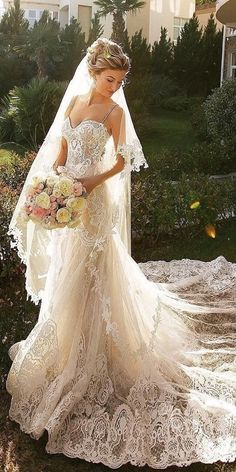 24 Romantic Bridal Gowns Perfect For Any Love Story ❤️ lace sheath romantic bridal gowns with straps full embllishment beige crystal design ❤️ Full gallery: https://weddingdressesguide.com/romantic-bridal-gowns/ #bride #wedding #bridalgown