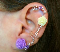 Non Pierced Cartilage Cuff  Roses are by ArianrhodWolfchild, $12.00