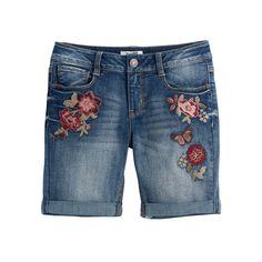 Girls 7-16 & Plus Size Mudd® Flower Embroidered Denim Bermuda Shorts, Girl's, Size: 18 1/2, Light Blue