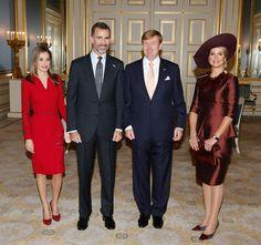 royalwatcher:  Spanish State Visit to the Netherlands, October 15, 2014-Queen Letizia, King Felipe, King Willem-Alexander, Queen Maxima