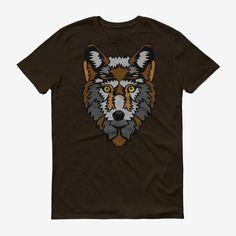 Men Wolf Head T Shirt Chocolate