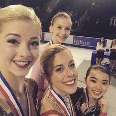 """""""Ladies podium selfie from last night!""""...(from left to right) Gracie Gold, Ashley Wagner, Mirai Nagasu, and (back) Polina Edmunds!!! <3 <3 <3"""