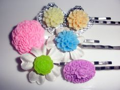 Spring Colors pastels set of 6 bobby pins hair accessories lot flower silver filigree base pink purple Easter orange yellow.  via Etsy.