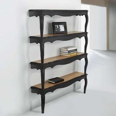 Bookshelves: two idenitical tables; cut in half/stacked/secure to wall by adding back plate. Paint/home office/store display.
