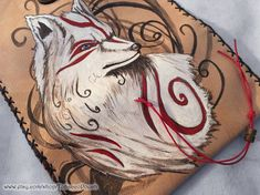 Okami Wolf Tobacco Pouch, pyrography on Leather Leather Tobacco Pouch, Leather Pouch, Handmade Jewelry, Unique Jewelry, Handmade Gifts, Leather Engraving, Leather Dye, Make A Gift, Pyrography