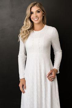 Gored Skirt, Knit Skirt, White Long Sleeve Dress, White Dress, Lds Temple Clothing, Temple Dress, White Elegance, Lace Wrap, Dress Silhouette