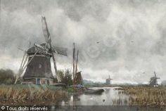 SCHIEDGES Petrus Paulus - Windmill in a polderlandscape