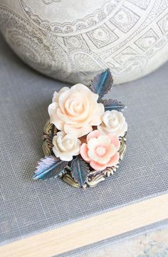 Flower Brooch Floral Accessories Branches and Leaves Peach Rose Brooch Vintage Style Gift for Her