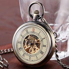 Xmas Gift Present Skeleton Mechanical Watch Pocket Classic Men Women Clock Pocket Fob Watches Pendant Relogios Bolso e Fob