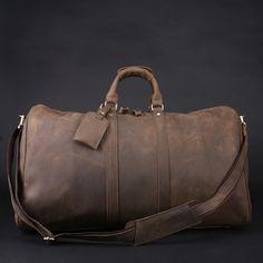 Image of Men's Handmade Vintage Leather Travel Bag / Luggage / Duffle Bag / Sport Bag / Weekend Bag (n66-3)