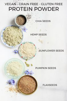 Homemade Vegan Protein Powder {grain free, gluten free, nut free} - These all make great additions to smoothies, too! Homemade Protein Powder, Vegan Protein Powder, Raw Food Recipes, Vegetarian Recipes, Healthy Recipes, Protein Recipes, Protein Foods, Healthy Snacks, Healthy Eating