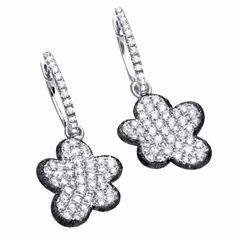 Black & White Diamond Dangle Earrings