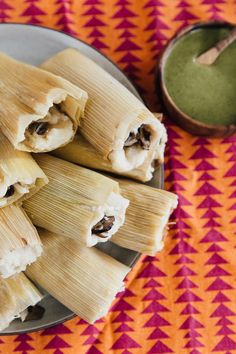 Recipe: Mushroom and Goat Cheese Tamales with Mole Verde - Recipe: Mushroom and. - Recipe: Mushroom and Goat Cheese Tamales with Mole Verde – Recipe: Mushroom and Goat Cheese Tama - Vegetarian Tamales, Vegan Tamales, Vegetarian Recipes, Vegan Meals, Mole Verde, Masa For Tamales, Chicken Tamales, Tamale Recipe, Tamale Pie