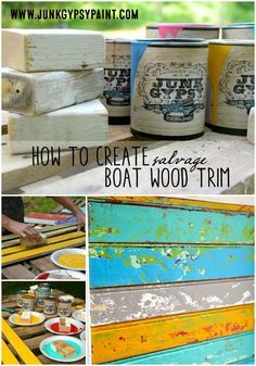 How to create salvage boat wood trim with Junk Gypsy™ Paint.for mermaid purse flags Distressed Furniture Painting, Funky Furniture, Painted Furniture, Beach Furniture, Furniture Update, Upcycled Furniture, Furniture Ideas, Gypsy Decor, Chalk It Up