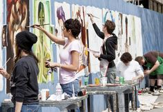 New paintings to be added to blue construction fence #SJSU