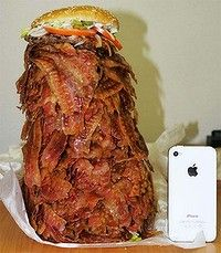 Burger King Bacon Burger with 1,050 pieces of Bacon, weight 2.7 kilograms and 14,300 calories    A man walks into a Japanese Burger King and orders a bacon burger laden with 1,050 pieces of swine...  In the video, we a see a guy sit down at a table and unwrap a mountain of bacon loosely held together by two buns and some nominal garnishment. He measures the mound of pork against his iPhone. He bows his head in a short prayer and starts stuffing his face.