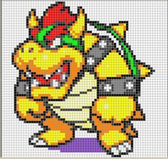 mario cross stitch | ... , she was nice enough to include a Bowser Shirt Cross Stitch Pattern